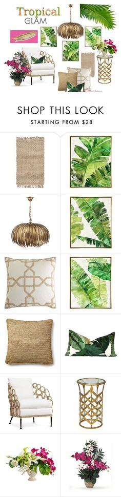 """Tropical Glam"" by angela-l-s ❤️ liked on Polyvore featuring interior, interiors, interior design, home, home decor, interior decorating, Safavieh, Barclay Butera, Pier 1 Imports and Ralph Lauren"