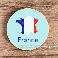 France flag map  PDF counted cross stitch by galabornpatterns, $4.20