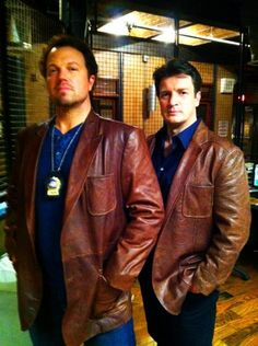 Adam Baldwin and Nathan Fillion on 'Castle'. I like your brown coat. Nathan Fillion, Adam Baldwin, Richard Castle, Castle Tv, Watch Castle, The Rocky Horror Picture Show, Angeles, Firefly Serenity, Nerd Love
