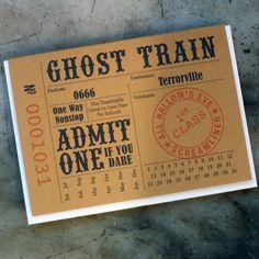 halloween train ticket via a.favorite design seen on paper crave Halloween Train, Halloween Ghosts, Halloween Cards, Fall Halloween, Halloween Decorations, Yard Haunt, Train Party, Train Tickets, Halloween Invitations
