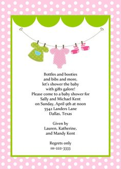 Girls Baby Clothes on Line Shower Invitation