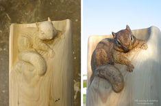 Mori Kono的动物木雕雕塑