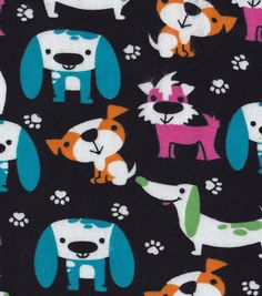 Snuggle Flannel Fabric-Bright Dogs