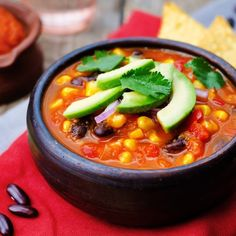 Vegetarian Tortilla Soup, skipped the tortilla and fresh cilantro. Added can of corn. Cut water in half and only used one veggie stock cube. But doubled the black beans. Also added salt. Purdy good!