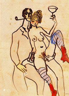 Angel Fernandez de Soto with woman via Pablo Picasso Size: 21x15.2 cm Medium: indian ink, watercolor on paper