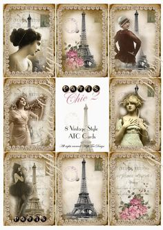 Paris Chic 2  Set of 8 Shabby Chic ATC Cards  by HighTeaDesign, $4.00