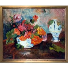 La Pastiche 'The Vase of Nasturtiums, 1886' by Paul Gauguin Framed Painting Print