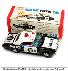 High Way Patrol Car, BANDAI, Japan (Picture 2 of 3). Vintage Tin Litho Tin Plate Toy. Mystery Action / Battery Operated Mechanism.
