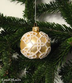 Bright gold Victorian Christmas glass ball with by LandOfLaces