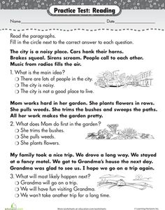 Worksheets: Practice Test: Reading Comprehension