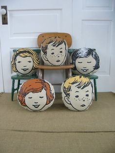 vintage pillows, etsy, $18 Would be cute for photo transfer of the kids