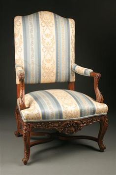 19th Century French Louis XV Bergere chair with stretcher base. #antique #chairs