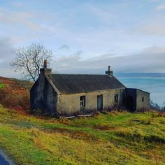 A lonely derelict croft in need of some TLC on the remote Isle of Jura, Scotland where the population of Red deer outnumber the people by… Irish Cottage, Old Cottage, Coastal Cottage, Isle Of Jura, Cottage Renovation, Red Deer, Beautiful Space, Glamping, Cabins