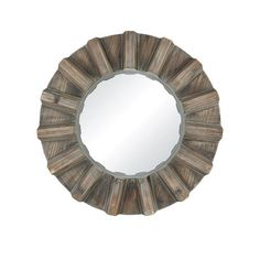 A beautiful fir wood frame surrounds the 17 inch diameter Via Salaria Mirror to create an iris effect that provides a window into a beautiful, natural seaside or lake home. Wall Mirrors For Sale, Round Wall Mirror, Coastal Inspired Mirrors, Rustic Mirrors, Beach House Decor, Home Decor, Rustic Farmhouse, Decorative Items, Bulb