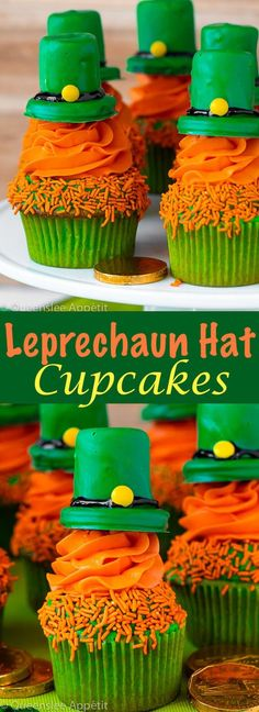 Leprechaun Hat Cupcakes ~ Recipe | Queenslee Appétit St Patricks Day Cupcake, St Patricks Day Food, Happy St Patricks Day, Saint Patricks, Holiday Cupcakes, Holiday Treats, Holiday Desserts, Cupcake Recipes, Cupcake Cakes