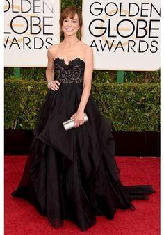 Frances O'Conner Black Strapless Celebrity Prom Dress 2015 Golden Globe Awards