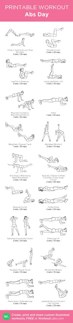 Abs Day:my visual workout created at WorkoutLabs.com • Click through to customize and download as a FREE PDF! #customworkout