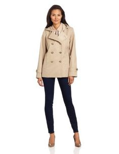 AK Anne Klein Women's Double Breasted Raincoat