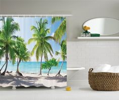 Amazon.com: Ambesonne Bathroom Decor Collection, Palm Trees on Tropical Island Beach Panoramic View Picture Print, Polyester Fabric Shower Curtain Set with Hooks, Gree Blue Sand Colorful: Home & Kitchen  $34.49