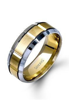 Simon G Men's Wedding Bands - 14k white gold, 14k yellow gold Wedding Band, LG112 product image