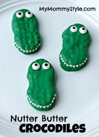 Nutter Butter Crocodiles on MyRecipeMagic.com are the cutest cookies.  Kids love these and can help make them! So cute!