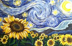 Paint Starry Night with Sunflowers! Birmingham, Tuesday 22 August - PopUp Painting