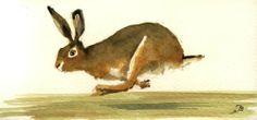 Hare Jumping Forest Rabbit Original Art Watercolor Animal Painting Juan Bosco   eBay