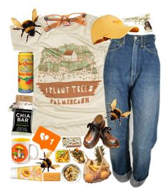 """""""Save the bees, a**hole! """" by jaded136 ❤ liked on Polyvore featuring PLANT, Levi's, Burt's Bees, Shandell's, MANGO and Superdry"""