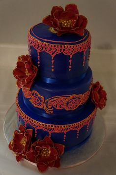 Striking!  Hand Piped Navy and Red Wedding Cake ~ all edible