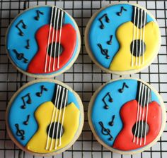 Musical Guitar Decorated Sugar Cookies for Musician