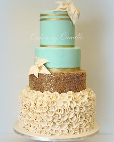 Mint Green and gold wedding cake with fondant ruffles, Cakes by Camille