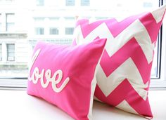 Hot Pink Chevron Pillow. Is it wrong to love pink this much?