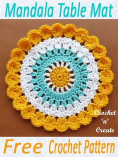 Mandala doily crochet pattern, free projects for beginners, with easy stitches. … Mandala doily crochet pattern, free projects for beginners, with easy stitches. A crochet diy pattern for all your crochet patterns fun. Diy Crochet Patterns, Crochet Diy, Crochet Designs, Crochet Crafts, Crochet Projects, Knitting Patterns, Diy Projects, Crochet Dollies, Crochet Flowers