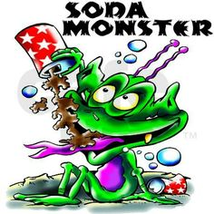 Purple eyed Monster drinks a soda