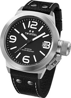 Men's Wrist Watches - TW Steel Mens TW2 Canteen Black Leather Black Dial Watch *** Want to know more, click on the image.