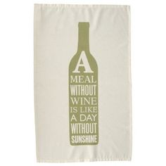 Meal Without Wine Tea Towel - Green - from eggcup & blanket UK
