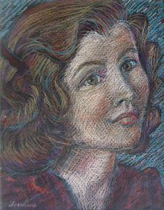 """Erica - Portrait of My Mother"", circa 2009,  Prismacolour pencil on textured black paper.  Based on a black and white photo of my mom at 15."