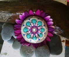 Painted Stones ~ Turquoise Purple Pink Dot Art Flower ~ Unique Painted Rock Ornaments ~ Home Decor ~ Nature Art by P4MirandaPitrone on Etsy
