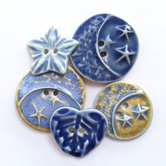 Moons Stars and Heart Porcelain Button Assortment by carolmilich, $18.00