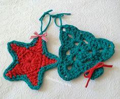 Decoração de natal com fio de malha