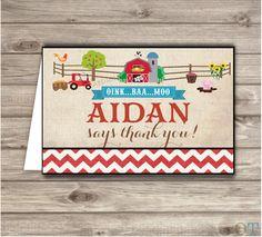 Farm Boy Birthday Thank You Cards
