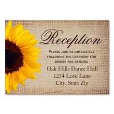 Rustic Sunflower Burlap Wedding Reception Cards Large Business Cards (Pack Of 100). Make your own business card with this great design. All you need is to add your info to this template. Click the image to try it out!