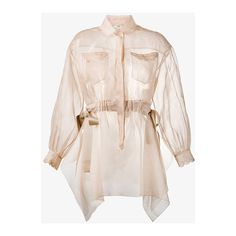 Fendi sheer long sleeve shirt ($1,380) ❤ liked on Polyvore featuring tops, see through tops, sheer long sleeve shirt, sheer top, bow shirt and scalloped shirt