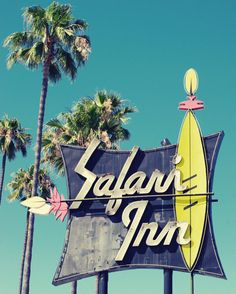 Fine Art Photography Vintage Retro Motel Sign Tiki Surf Safari Inn Southern California Teal Tourquoise Blue Yellow (bathroom art)