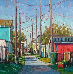 """""""Red Garage"""" by René Wiley by Rene' Wiley Gallery Oil ~ 16 x 16"""