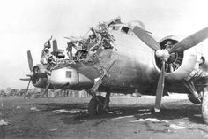 Boeing B-17G B-17G 43-38172 of the 8th AF 398th BG 601st BS which was damaged on a bombing mission over Cologne, Germany, on 15 October 1944; the bombardier was killed.