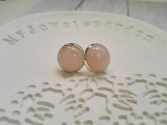 Rose Quartz Earrings 925 sterling silver round stud earrings boho jewelry pink natural birthstone 12mm size modern gift for her by MyJewelsGarden Resin Real Flowers Jewellery Made in Italy by Myjewelsgarden