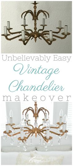 Super easy vintage chandelier makeover | DIY guest bedroom makeover, before and after - #diy #diyproject #makeover #beforeandafter #idea #chandelier #lighting #lightmakeover