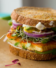 Vegan Lunch Sandwich with Sizzling Skillet Tofu, Avocado and Sprouts