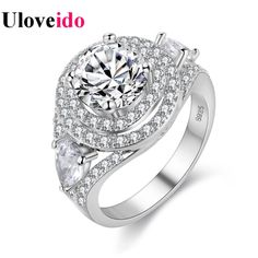 Find More Rings Information about Uloveido Silver Plated Rings for Women Anillos Mujer Ring Female Wedding Bijouterie Anel Masculino Vintage Jewellery PJ4260,High Quality Rings from Uloveido Official Store on Aliexpress.com